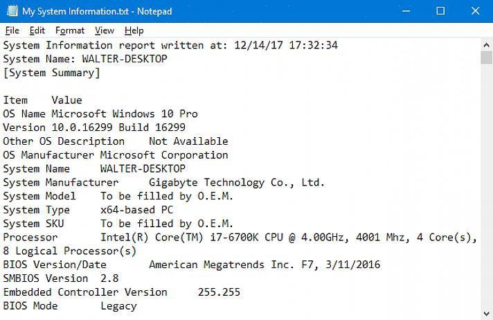 פקודה זו פותחת את תוכנית המידע של מחשב Windows שלך